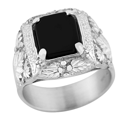 Black Hills Silver and Onyx Mens Ring (10)