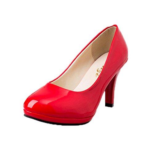 Spring Talons Ronds Superficiel Casual Bloc Office Escarpins Women Hauts Chaussures Bain à Rawdah Rouge zSP5qY
