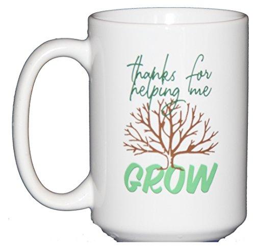 Thanks for Helping Me Grow Coffee Mug - Teacher Gift - Mom - (Thanks For Helping Me Grow)