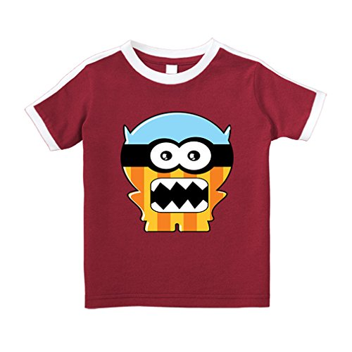 Cute Rascals Monster Squared Mouth Cartoon Cotton Short Sleeve Crewneck Unisex Toddler T-Shirt Soccer Tee - Red, 4T