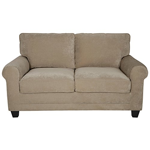 Beau Modern Loveseat Sofa With Comfortable Soft Seat, Cushion Back And Round  Arms, Made From