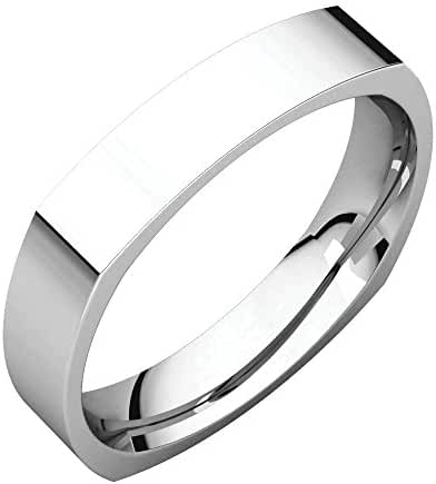 Platinum 4mm Square Comfort Fit Band, Ring Size 7