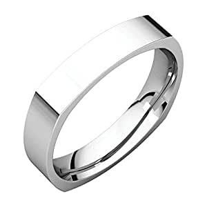 Palladium 5mm Square Comfort Fit Band, Ring Size 10