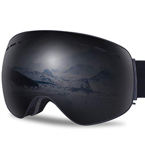 - G4Free Ski Snowboard Goggles Over Glasses Snow Goggles for Men Women,Magnetic Dual Lens Anti-Fog UV Protection Spherical Frameless Ski Goggles for Snowmobile Snowboarding(Black)