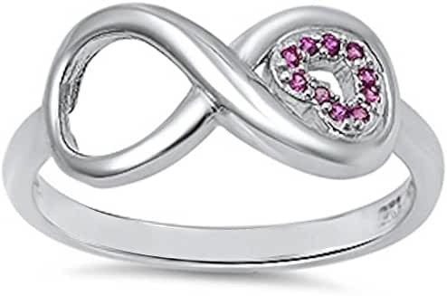 Pink Cz Heart & Infinity .925 Sterling Silver Ring Sizes 3-13