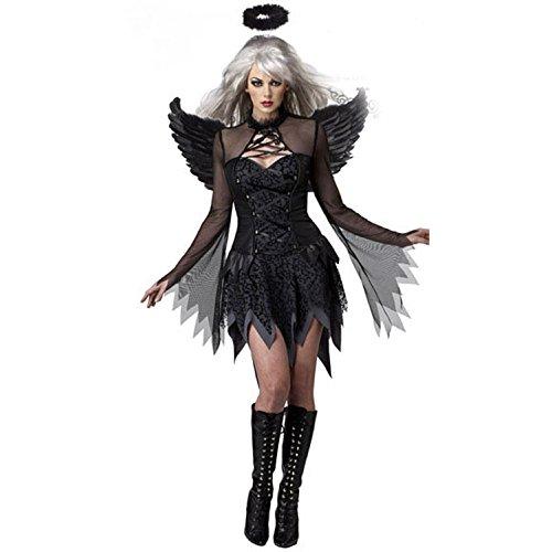 Fallen Angel Dress Costume Women's Halloween Dark Fallen Angel Corset Dresses (Black-L) -