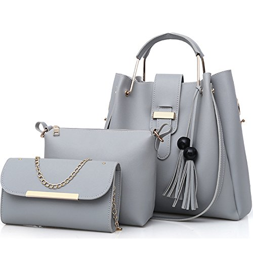 Crossbody Totes Shoulder and Grey Purse 3 FiveloveTwo Pcs Clutch Pack Tassel Top Leather Women's Handbags Bags Bag Handle PU Satchels Set wPaRqETRFx