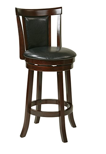 OSP Designs Office Star Metro Faux Leather Seat and Back Round Swivel Barstool with Footrest and Espresso Finish Wood Frame, 30-Inch, (Metro Round Bar Stool)
