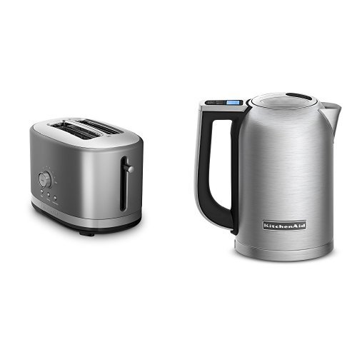 KitchenAid KMT2116CU Contour Silver 2 Slice Slot Toaster and KitchenAid KEK1722SX Brushed Stainless Steel 1.7-Liter Electric Kettle