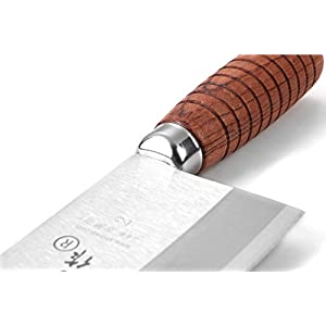Shibazizuo F214-2 Superior Class 7-inch Stainless Steel Chinese Kitchen Knife Chef Knife with Ergonomic Design&Comfortable Wooden Handle