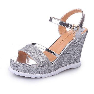 Aiurbag Femmes-talons-casual Loisirs-strap Club Chaussures-wedge-pu (polyuréthane) -gold Black Silver