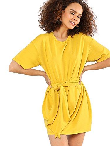 Floerns Women's Striped Short Sleeve Loose Swing T-Shirt Dress Yellow-2 XS
