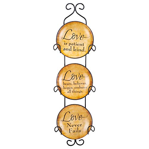 Mini Ceramic Wall Plates with Metal Hanger (Set of 3) (Love Never Fails)