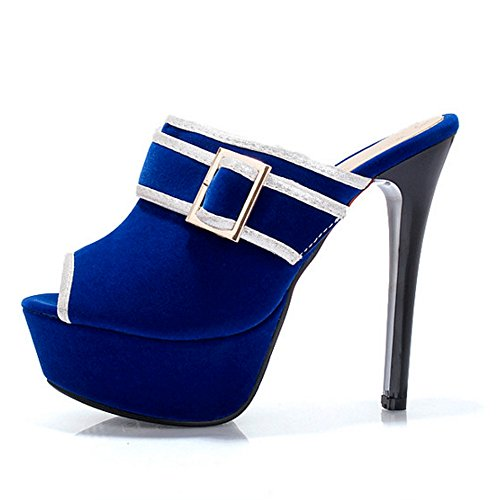 TAOFFEN Women Platform Heels Mules Sandals Blue bE0iNR