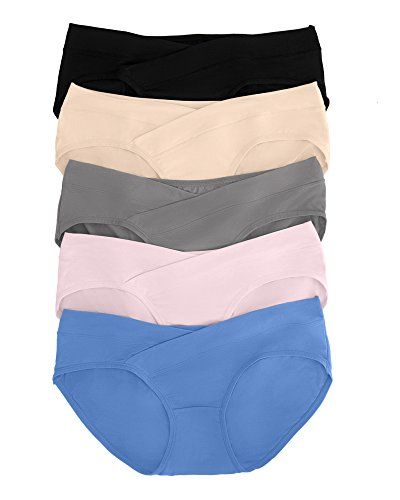 Kindred Bravely Under The Bump Seamless Maternity Underwear/Pregnancy Panties - Bikini (X-Large, Assorted, 5 Pack)