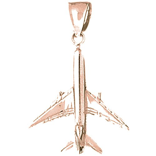 Necklace Obsession's 14K Rose Gold 34mm 3D Airplane Pendant Necklace