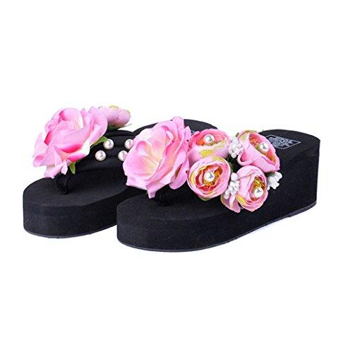 Man Made Pearl (U-MAC Womens Platform Wedge Flip Flops Sandals Man-Made Pearl Floral Anti-Slip Summer Thongs Slippers)