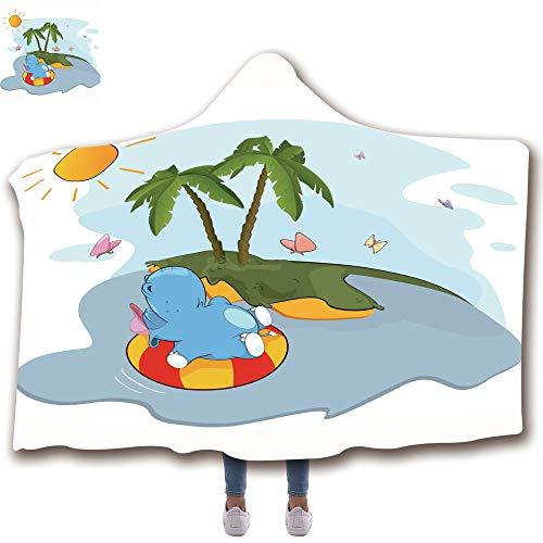 Hoodie Island Kids - 3D Printed Hooded Blanket Fashion Thick Warm Flannel Throw Blanket Kids(51