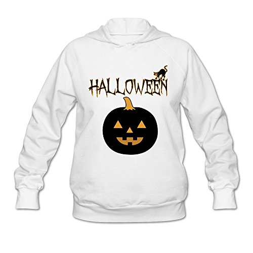 Sasha Women's Halloween Pumpkin Sweatshirt White M (Halloween Cutouts For Pumpkin Carving)