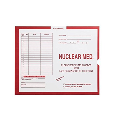 Nuclear Medicine, Red #185 - Category Insert Jackets, System I, Open End - 14-1/4'' x 17-1/2'' (Carton of 250)