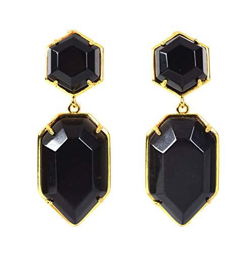 Natural Black Obsidian Healing Crystal Faceted Geometric Hexagon Statement Studs Earrings - Obsidian Onyx Earrings