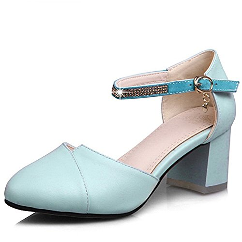 Logan Toe Thick Heel Pumps Leisure Round Woman Office Blue Footwear Summer Heels Ladies Jerald Shoes High YdAwYz