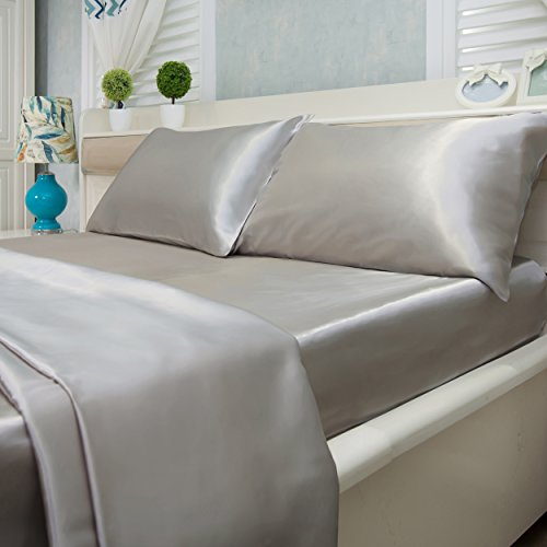 Natural Life Home Ultra Soft and Silky Satin Sheet Set 4-Piece (Cal King, Silver)
