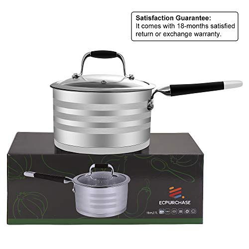 ECPURCHASE Stainless Steel 2.9-Quart Saucepan, Nonstick Sauce Pan with Lids, Multipurpose Design for for Home Kitchen, 2.7 L