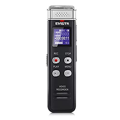 EVISTR 16GB Digital Voice Recorder Voice Activated Recorder with Playback - Upgraded Small Digital Recorder for Lectures, Meetings, Interviews, Mini Audio Recorder USB Rechargeable, MP3