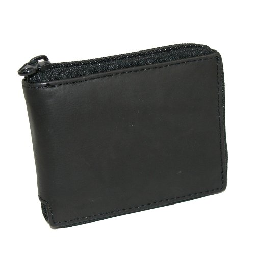Paul & Taylor Black Leather Zip Around Center Flap Bifold Wallet Center Flap