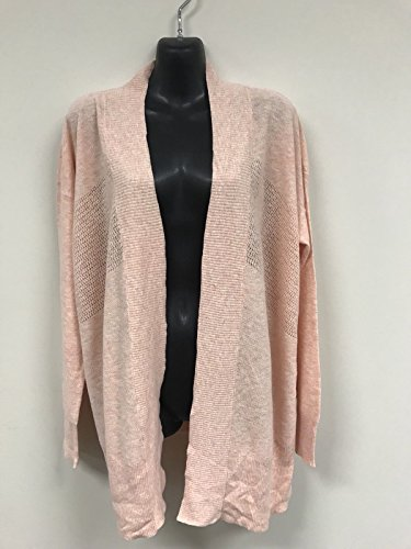 Leo and Nicole Womens Cardigan Long Sleeve Open Front Marled Rib Trim Pointelle Sweater