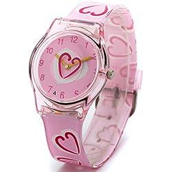 Zeiger KW008 Easy Read Young Girls Children Teen Wrist Kids Watches, Sweet Heart Shape Band (Pink)
