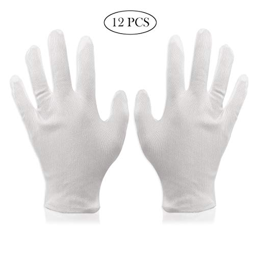 RAYDESOM 12 Pack White Cotton Gloves, 100% Premium Cotton Cosmetic Moisturizing Natural Therapy Gloves for Dry Hands Healing and Beauty - Free Size -
