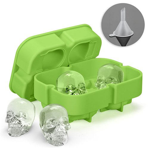Bonice Silicone Skull Ice Cube Mold Tray with Lid, Makes Four Giant Skulls, Flexible 3D Creative Round Ball Ice Marker for Party Whiskey Cocktails Wine Drinks Beverages + Free Funnel, Green