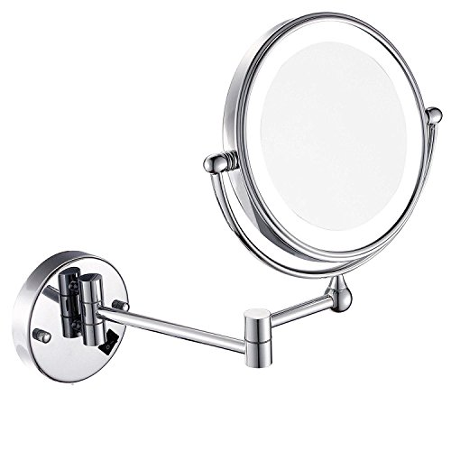 Wall Mount MakeUp Vanity Mirror with LED Light, Polished Chrome Finish and 8 Inch Double Sided Swivel Silver 10XMagnification