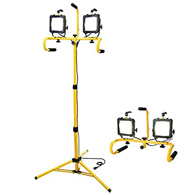 All-Pro LED Portable Twin Worklight with Telescoping Tripod, 46-Inch, 600-watt Equivalent, 5100 Lumens, Yellow