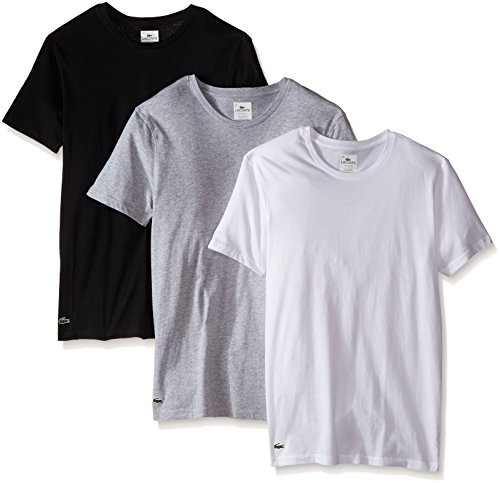 (Lacoste Men's Cotton Crew-Neck T-Shirt Undershirt (3-Pack), Black/Grey/White, Large)