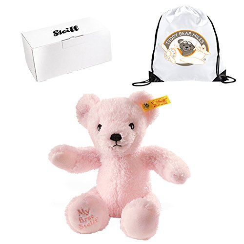 Finest Quality Authentic Steiff My First Pink Bear 24 cm and Reusable Gift Bag A New Little Friend Infants Newborn New Arrival Baby Girls Children Kids Girl Child Toddler For My Godchild Gift Present