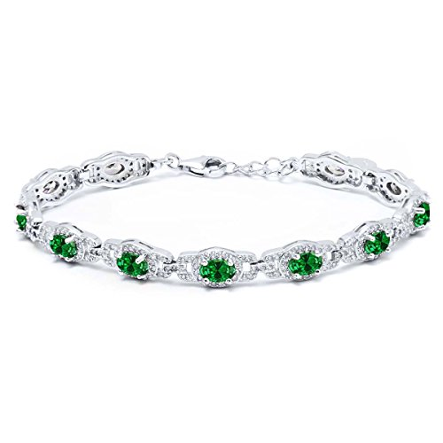 11.08 Ct Oval Green Simulated Emerald 925 Sterling Silver Women's 7 Inch Bracelet With 1 Inch Extender 7 Inch with 1 inch Extender