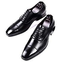 Aingeal [Aingeal] 通気性抜群 革靴 内羽根 大きいサイズ ビジネスシ...