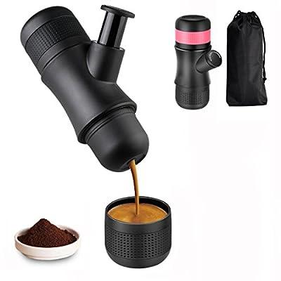Kaleep Mini Manual Espresso Machine,Portable Hand Held Espresso Maker, Manual Pressure Coffee Machine,No Battery,No Electronic Power,Mini Coffee Maker for Travel Office Home Outdoor(Black)