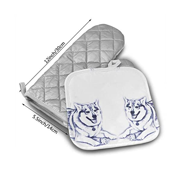 ACHT Keanu The Alaskan Klee Kai Fabric (8787) Heat Resistant Hot Oven Mitts & Pot Holders for Kitchen Oven Gloves for BBQ Cooking Baking, Grilling 2