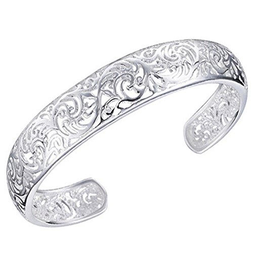 - Ameesi Women's 925 Sterling Silver Bezel Hollow Cuff Bangle Open Bracelet