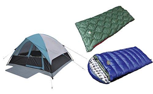 Cheap High Peak USA Alpinizmo Kodiak 0F & Ranger 20F Sleeping Bags One 6 Men Tent Combo Set, Blue/Green, One Size