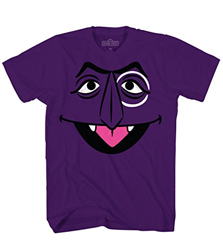 Sesame Street Count Von Count Face Tee Funny Humor Pun Adult Mens Graphic T-Shirt Apparel, Purple, (XX-Large)