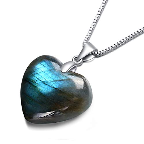 NATURSTON Crystal's Carving Love Heart Pendant Necklace Natural Labradorite Gemstone's Birthday Gift for Women Girls (Green,2.0cm) ()