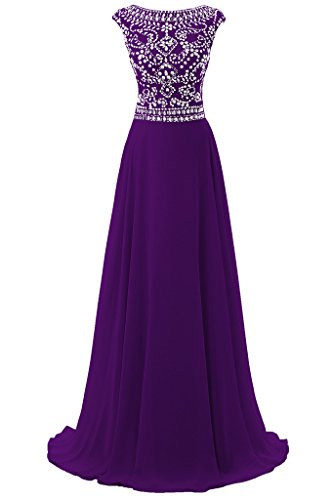 Dresstore Women's Long Chiffon Bridesmaid Dress Cap Sleeves Beaded Prom Eveing Gown Purple US 8 (Renta Formal Gown)