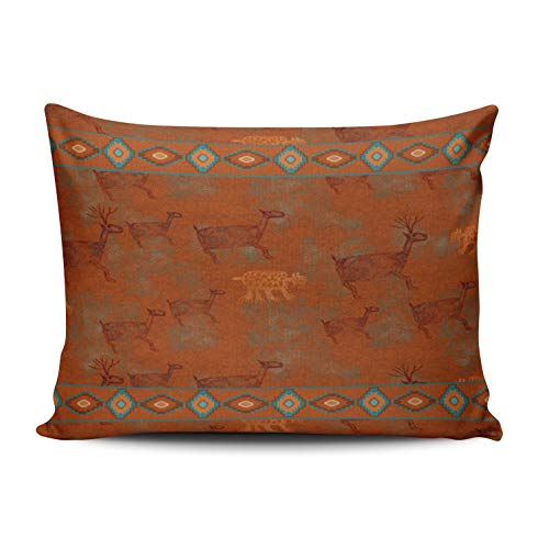 WEINIYA Home Decoration Design Pillow Case Rust Aqua Mint Southwest Canyons Petroglyphs Throw Pillowcase Custom Cushion Cover Standard 20X26 Inches One Sided Printed (Set of 1) (Shams Pillow Custom)