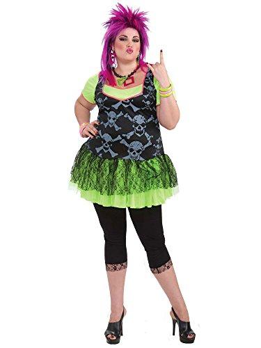 Forum Novelties Women's 80's Punk Lady Plus Size Costume, Green, Plus]()