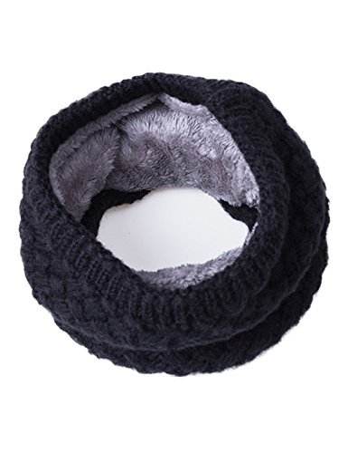 Knitted Neck Scarves - EVRFELAN Infinity Scarf Winter Women Circle Loop Scarves Warm Kids Neck Warmer Chunky Knit Soft Thick Fashion Ladies Accessories Ribbed Girls Men Boy Collar (Black)